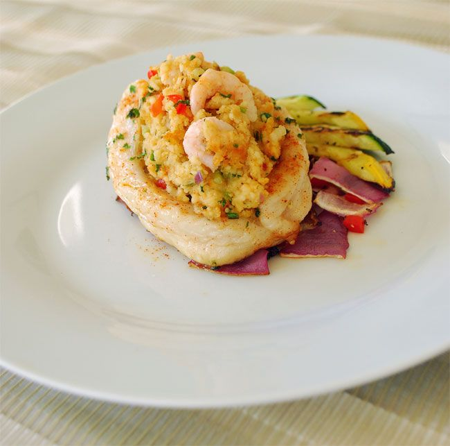 Swai with chipotle shrimp couscous stuffing http www for Swai fish recipes food network