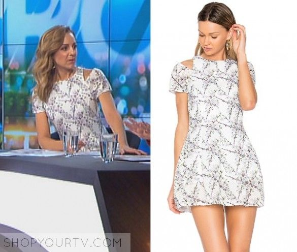 The Project: May 2017 Carrie's White Cutout Dress   Shop Your TV Carrie Bickmore wears this white printed cut out shoulder dress on this episode of The Project on May 9th 2017.  It is the Elliatt Euphoria Cold Shoulder Dress.