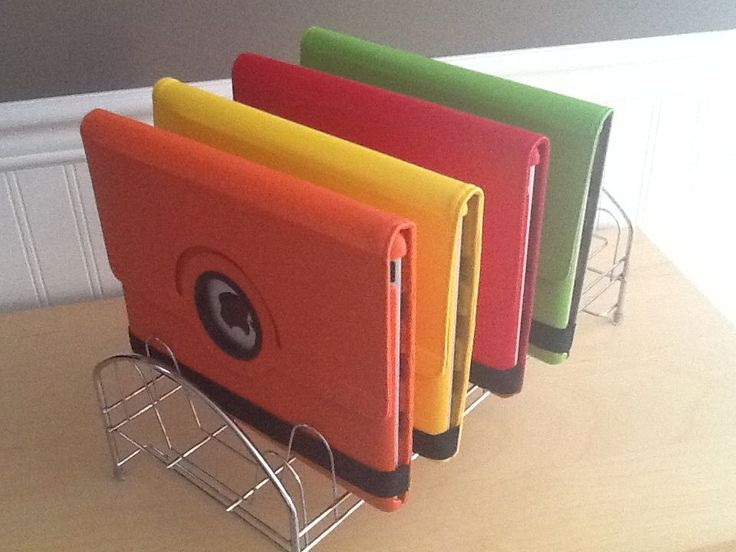 Classroom Ipad Ideas : Use an inexpensive dish rack or file organizer to store