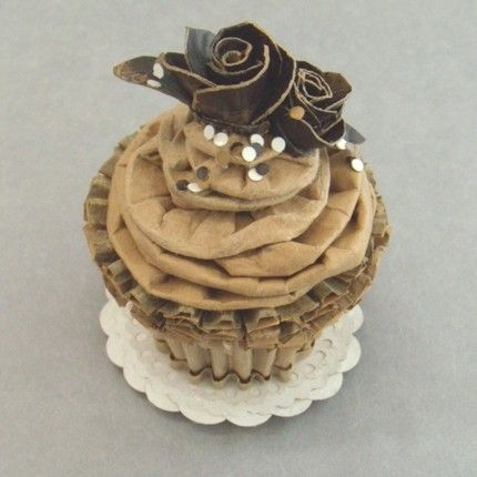 """""""Chocolate Cupcake With Mocha Buttercream, Fondant Roses, and Sprinkles"""". 100% recycled cardboard."""