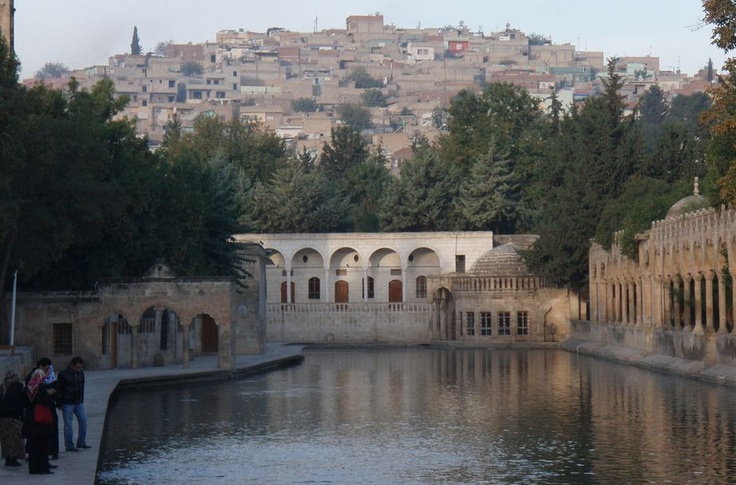 The Balikli Gol (The fish-filled pond), the Shrine commemorating the place where Abraham was thrown into the fire (after breaking the idols) but where the fire miraculously turned into water and the logs of firewood into fish. (Sanli Urfa, Southeastern Turkey)