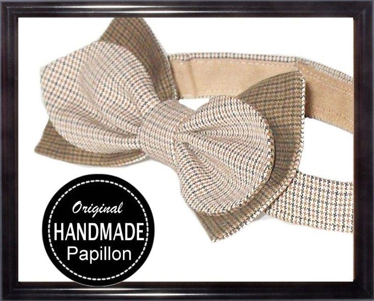 Papillon Uomo Beige Artigianale Regolabile Bow tie Handmade Classico Nuovo
