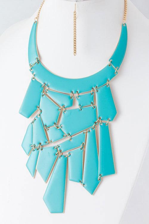 Chunky Maxi Collar Turquoise Tone Epoxy Link Modern Statement Necklace Set | eBay: Diy Collares, Statement Necklaces, Style, Necklace Set, Collar Turquoise, Chunky Maxi