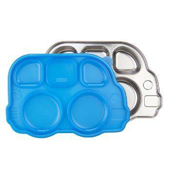 Din Din SMART™ stainless bus platter-Blue Lid