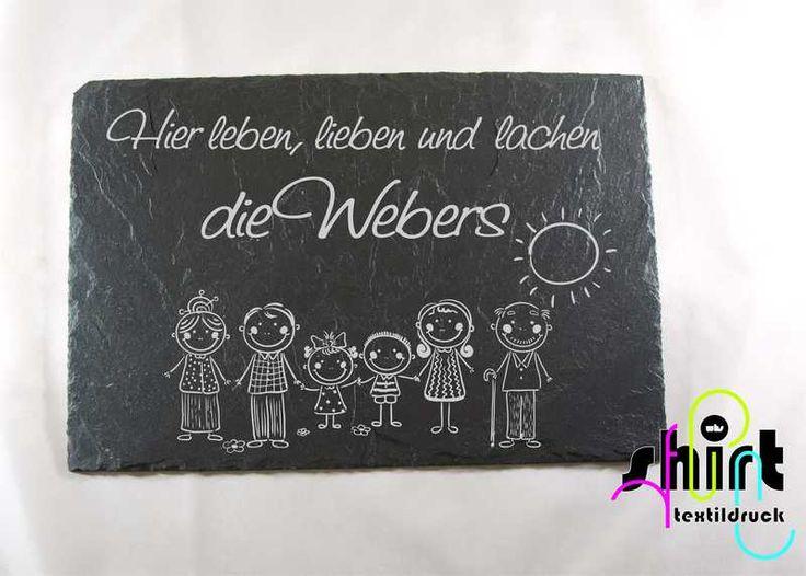 Hausnummern -  S67 Namensschild Türschild Schiefer Familie Hund - ein Designerstück von WHS-Textildruck bei DaWanda