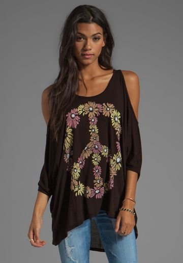 LAUREN MOSHI Macy Color Peace Daisy Open Shoulder Top in Black at Revolve Clothing