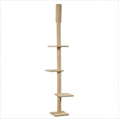 """Whisker World 103"""" Adjustable Kitty Skyscraper Cat Tree in Beige - 71321"""
