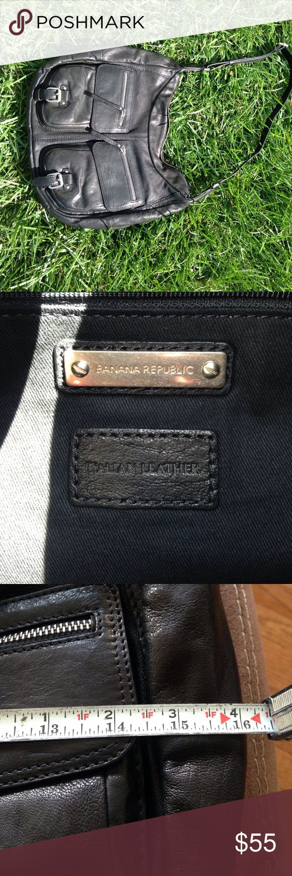 Black leather Banana Republic purse. NWOT. Black leather purse with adjustable shoulder strap. Banana Republic Bags Shoulder Bags