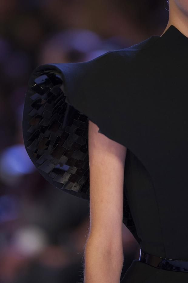 Hidden Textures - sculptural sleeve with leather embellished surface detail - close up fashion design details // Stephane Rolland Haute Couture