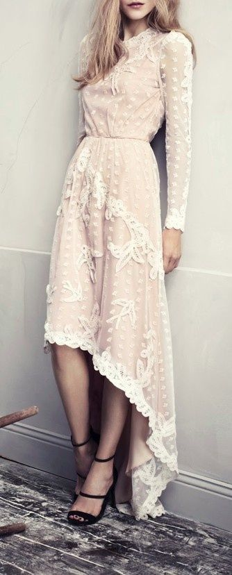 #street #style #casual #outfits #spring #outfit #ideas | Nude asymmetrical off white lace maxi dress