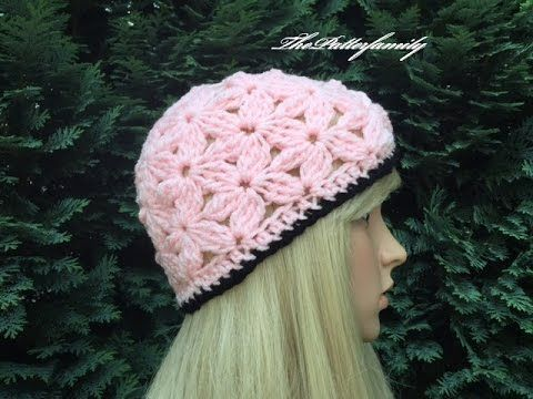 How to Crochet Beanie Hat With 3D Leaves Tutorial 146 - YouTube