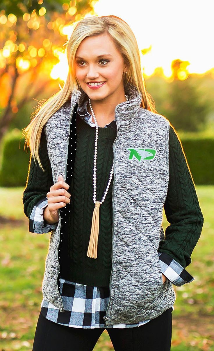 North Dakota Fighting Hawks City Chic Quilted Vest With Polka Dot Lining