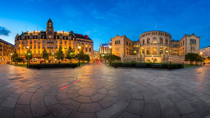 Panorama of the Grand Hotel and Parliament of Norway in the Evening Oslo Norway [OC] [2048x1152]