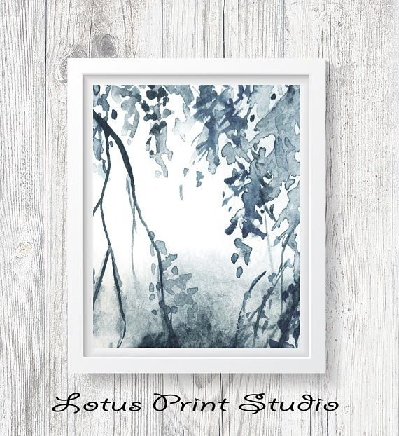 Watercolour Tree Branch Print Abstract Nature Wall Art Leafs