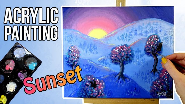Blue Acrylic Mountain Sunset Landscape Painting with Colorful Trees. I'm painting a blue sunset mountain landscape with bright colors and a children's book illustration style using acrylics on canvas. It has pink, purple and blue sky, mountains and trees and owl and squirrel silhouettes.   I'm talking through my painting process from the inspiration and sketch to the painting.