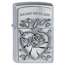 "Zippo Lighter ""Emblem - Heart of Glass"" No 2000848 - New on brushed chrome"