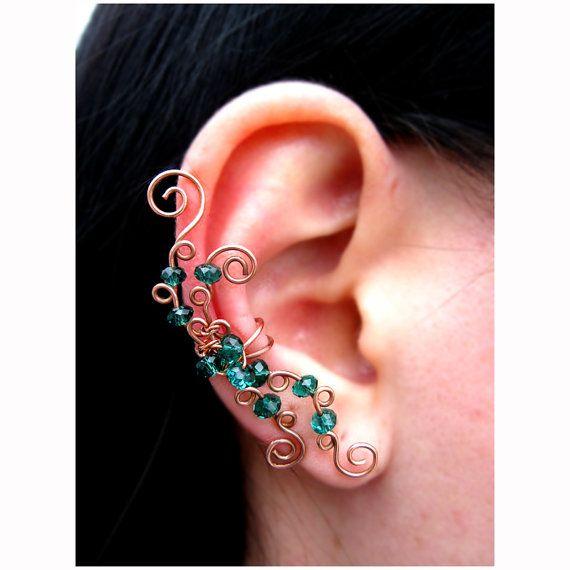 Orecchio bracciale orecchino rame verde gioielli di ExquisiteStyle
