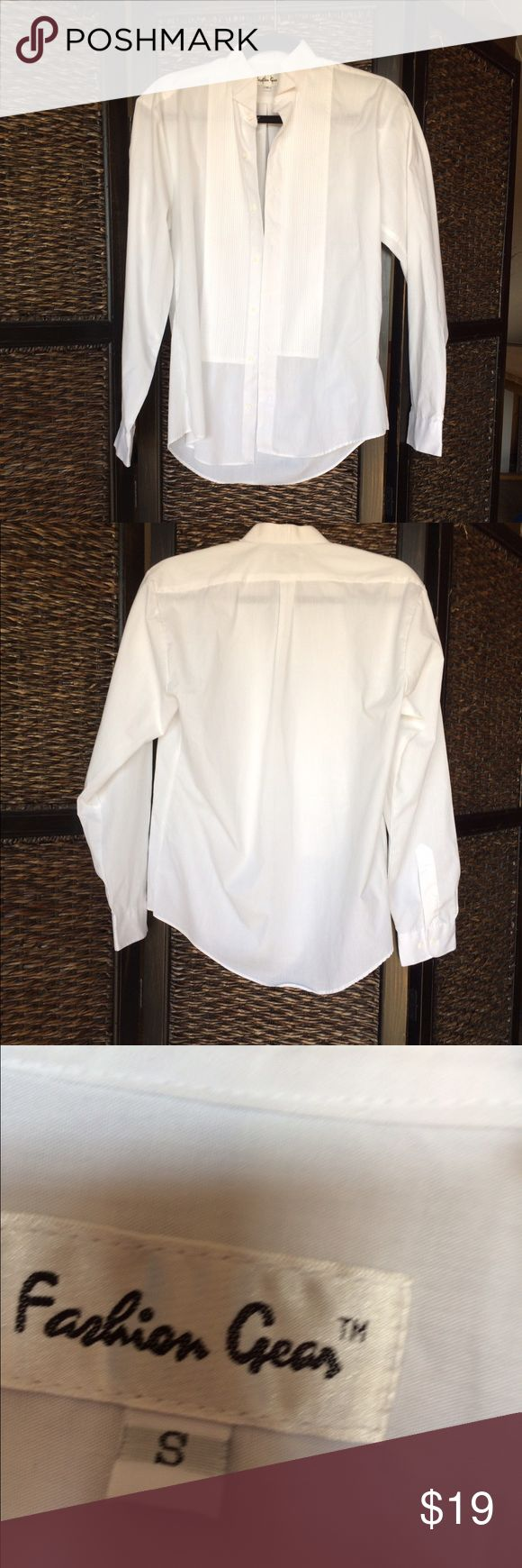 Men's small tux shirt. No flaws, great condition! Perfect for a upcoming high school dances/prom/weddings fashion gear Shirts Dress Shirts