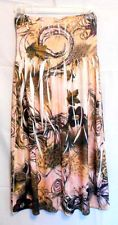Fashion Strapless Sun Dress Size Small Peach Brown Elastic Top Poly Blend