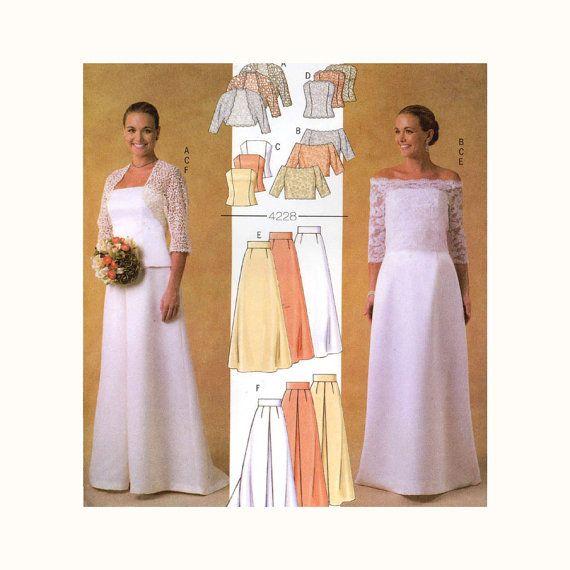Simple Strapless Bridal Gown u Shrug Pattern Butterick to Bust Womens Sewing Pattern Wedding Dress Skirt Corset Top Chapel Train UNCUT
