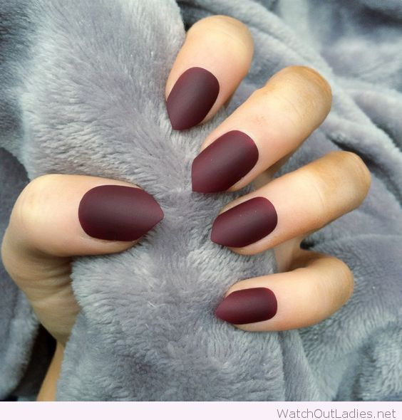 Matte burgundy nail polish color