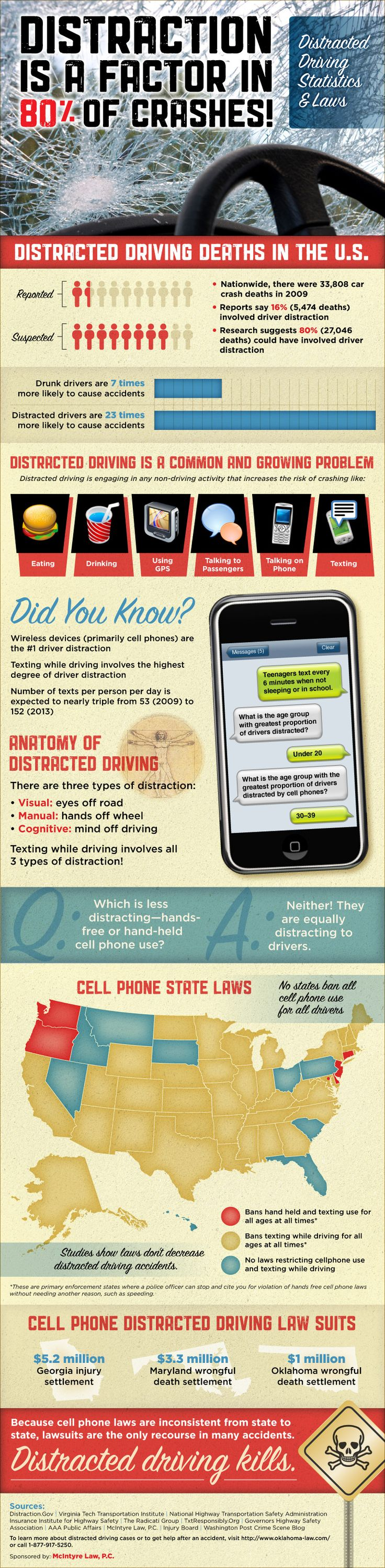 Driving Distractions Statistics Infographic