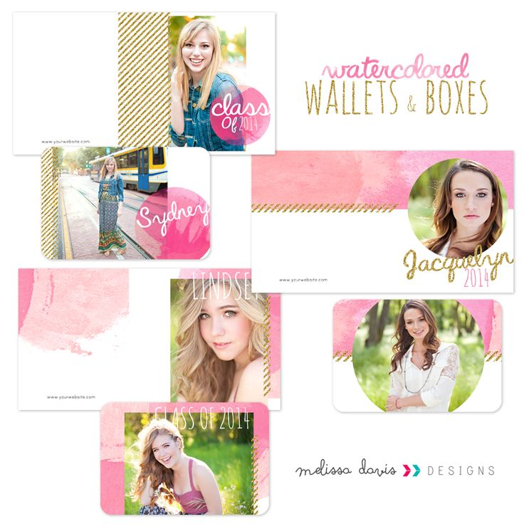 Watercolored Wallets & Boxes - $16.00 : Photoshop Templates for Photographers l templates for photographers l photo card templates, Fun and Unique Photoshop templates for photographers