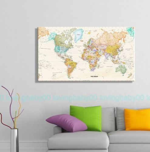 World-Map-HD-Stretched-Canvas-Prints-Wall-Art-Home-Office-Bussiness-Decor-Framed