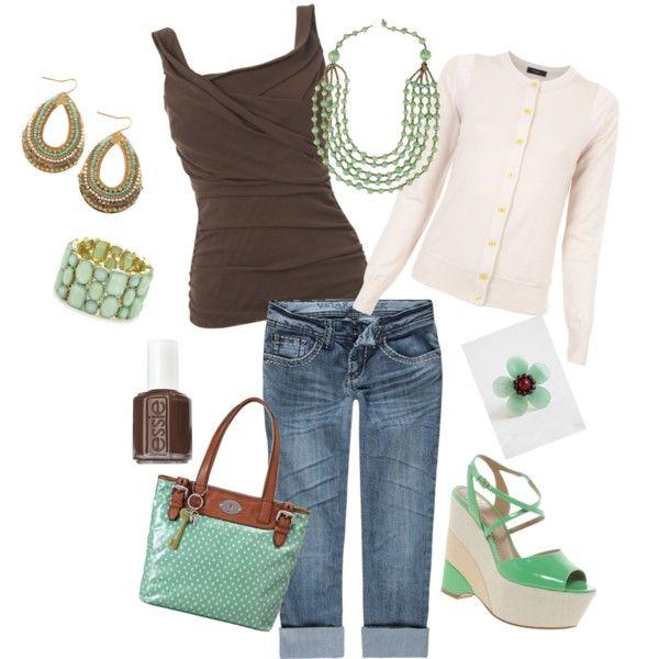 Spijkerbroek, mint blouse, bruin colbert