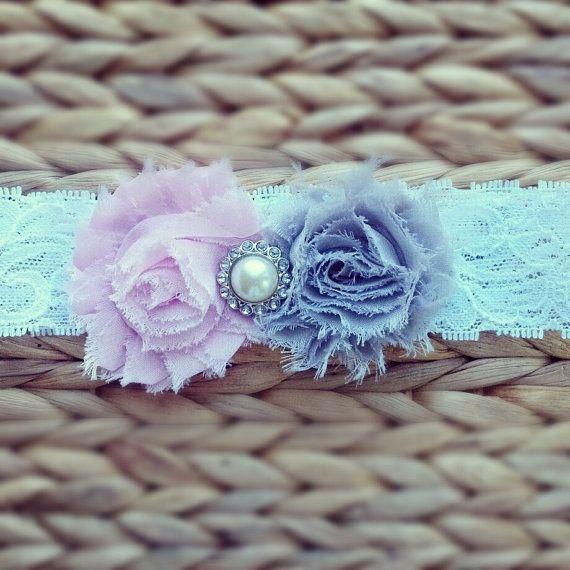 Baby Headband... Baby Girl Headbands... Gray Pink Vintage Shabby Chic Flower on Lace Headband... Baby FlowerHeadband... Newborn Headband