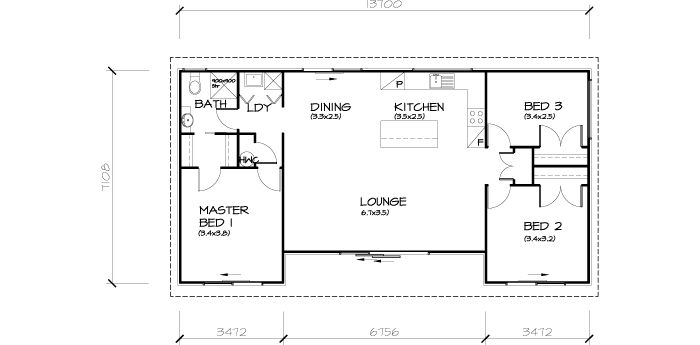 PLB93 3 Bedroom Transportable Homes House Plan