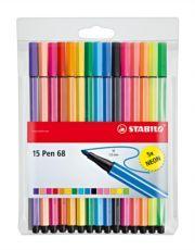 Huopakynä Stabilo Pen 68, 15 väriä (10 perusväriä, 5 neonväriä)