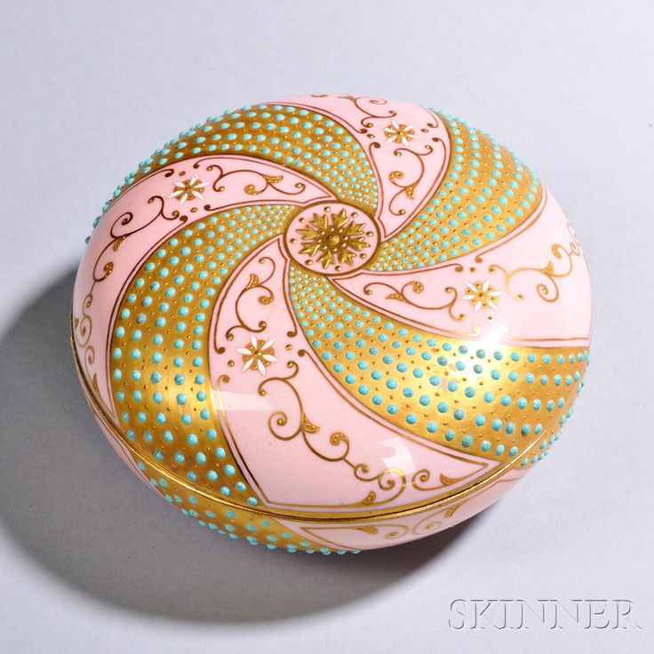 Jeweled Coalport Porcelain Box and Cover   Sale Number 2875B, Lot Number 454   Skinner Auctioneers