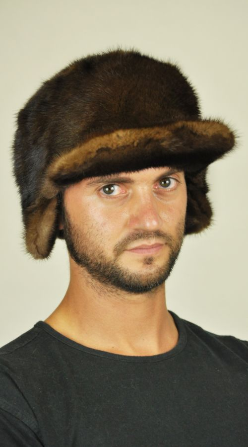 Men's fur hat with Visor