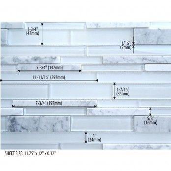 "Subway: Icy White Glass & Stone Mosaic Backsplash Tile, 11-3/4"" x 11-3/4"" x 0.32"" Rok Hardware - Palmary Wholesale White, marble kitchen"