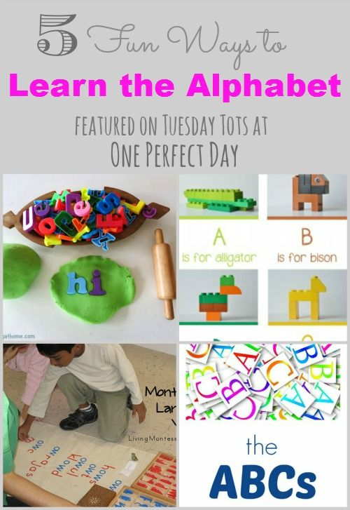 Lots of fun ideas for teaching kids the alphabet this week on Tuesday Tots at One Perfect Day.