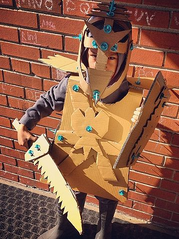 A suit of armor made out of cardboard
