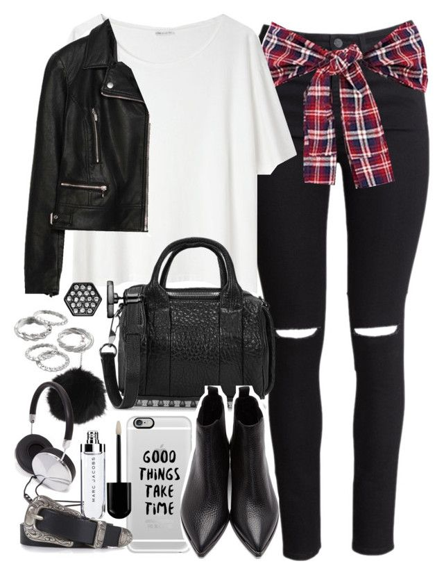 """""""Outfit for meeting friends with a leather jacket"""" by ferned on Polyvore featuring H&M, Acne Studios, Casetify, Topshop, Zara, Alexander Wang, Forever 21, Apt. 9 and Simply Vera"""