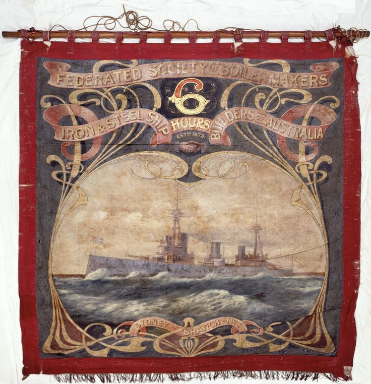 Rear view of the Federated Society of Boilermakers, Iron & Steel Shipbuilders of Australia banner that is located at the State Library of New South Wales: http://www.acmssearch.sl.nsw.gov.au/search/itemDetailPaged.cgi?itemID=430961. Digital order no.: a928322.
