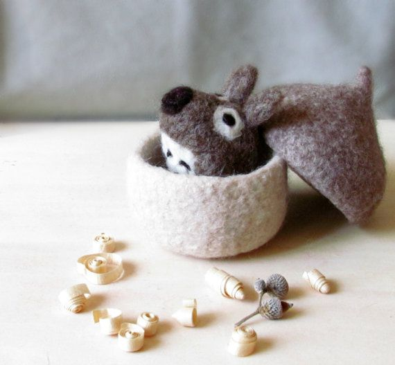 Felted acorn / Needle felted mouse / eco by theYarnKitchen on Etsy, $35.90