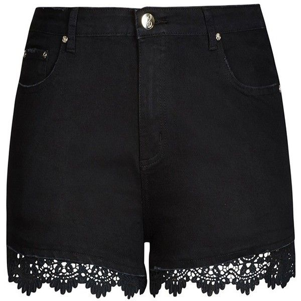 City Chic Crochet Trim Short Short ($59) ❤ liked on Polyvore featuring shorts, lacy shorts, lace shorts, zipper shorts, mini short shorts and hot short shorts