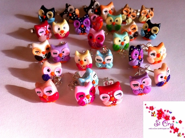 Owls earrings in every colours. Fimo handmade