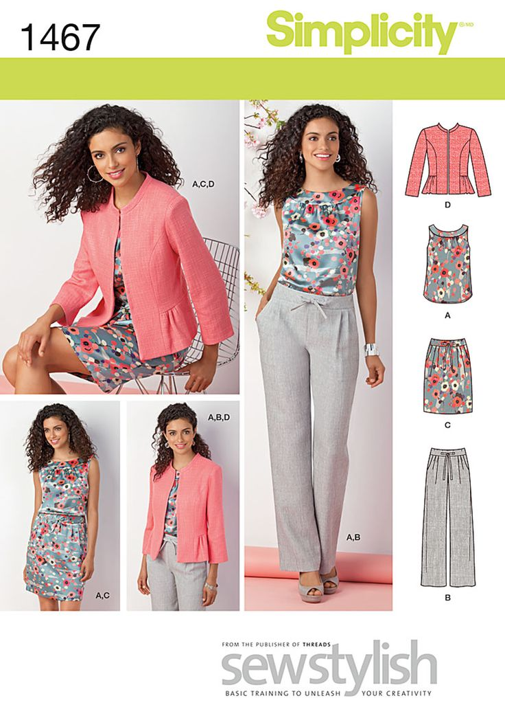 Simplicity 1467 - 1467 Misses' & Miss Petite Top, Jacket, Pants & Skirt Fresh colours