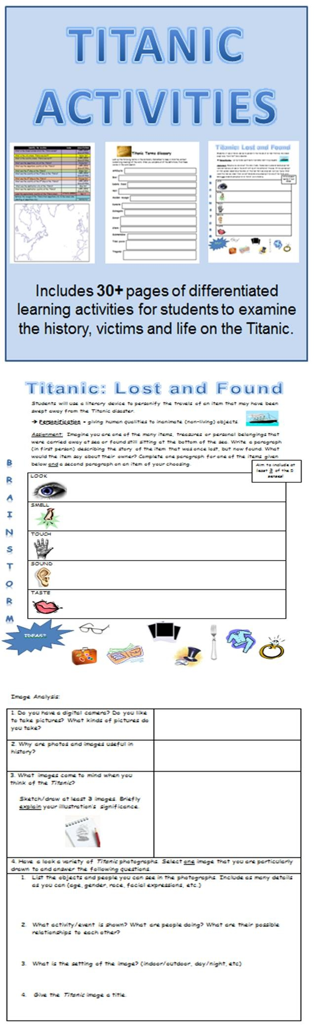 April marks the ANNIVERSARY of the Titanic. This Titanic lessons and activity pack includes 30+ pages of differentiated lesson activities and spans historical information, facts and life on the Titanic. Bring the Titanic to the classroom and allow your students to explore this historical event in a fun and creative way.
