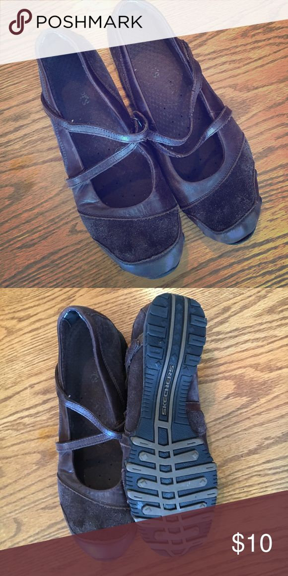 """Skechers Mary Jane Slip On Shoes, brown suede, 10 Brown Suede/Leather """"Mary Jane"""" Shoes, Skechers brand.  These are in good condition, only having been worn minimally. They are size 10. Skechers Shoes Sneakers"""