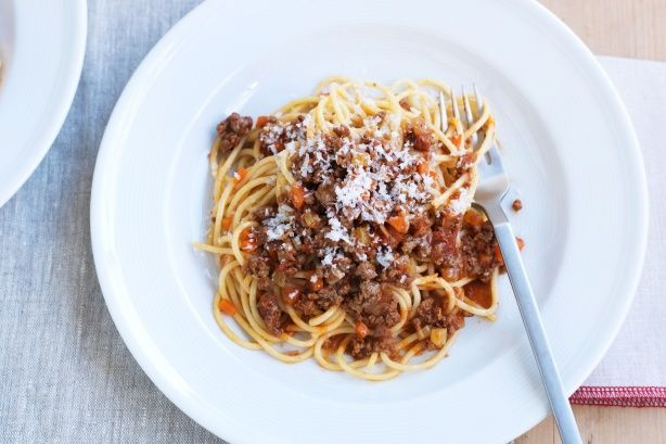 Manu's hearty spaghetti bolognese is proudly brought to you by Campbell's Real stock and Taste.com.au.