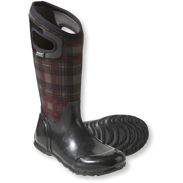 Bogs  North Hampton Plaid Tall, Women's ($100) ❤ liked on Polyvore featuring shoes, boots, rubber boots, waterproof rubber boots, short rubber boots, waterproof boots and ankle boots