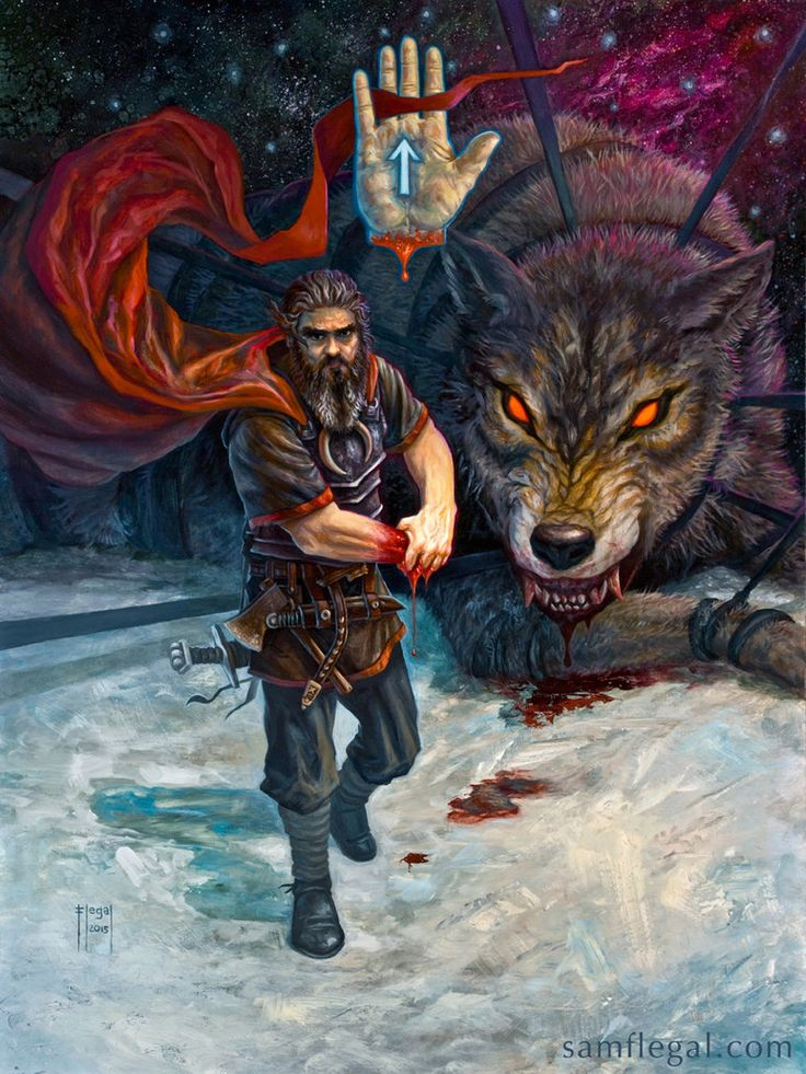 The norse god Tyr walks away, having kept his word in order to bind the great devourer, Fenris.