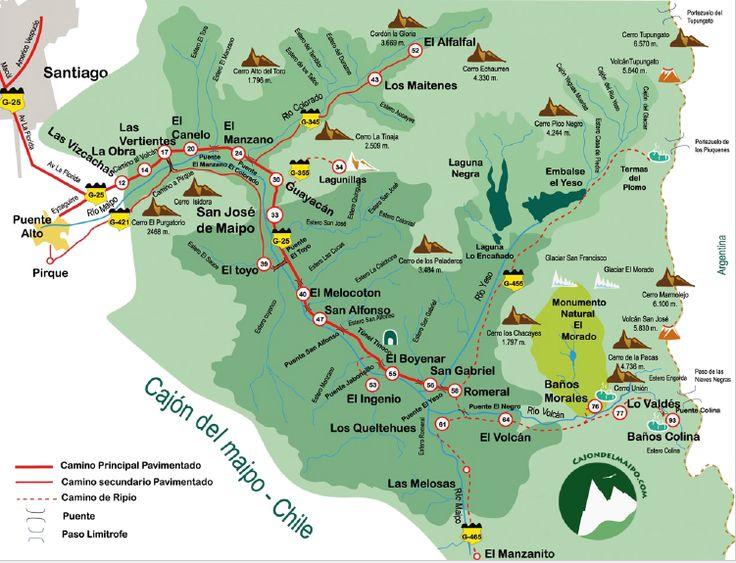 Mapa del Cajón del Maipo