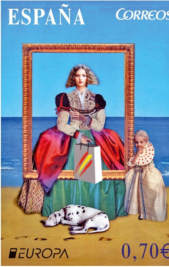 Europa. Visite España (4/04/2012). El diseñador de la imagen ha tomando como inspiración el famoso cuadro de Las Meninas, de Diego Velázquez, para hacer una composición en la que mezcla los distintos conceptos del turismo.